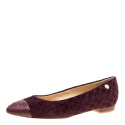 1e680d5d515 Chanel Burgundy Quilted Suede with Python Cap Toe Ballet Flats Size 41.5