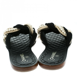 Chanel Two Tone Rope With Faux Pearls Cuba Slide Sandals Size 42