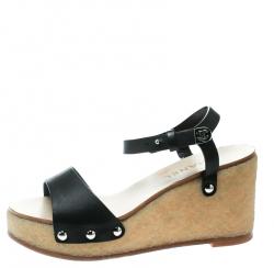 6bba7c5efa7 Chanel Black Leather Ankle Strap Platform Wedge Sandals Size 39.5