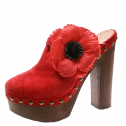 9c0f51226284 Chanel Red Suede Camellia Embellished Wooden Clogs Size 40