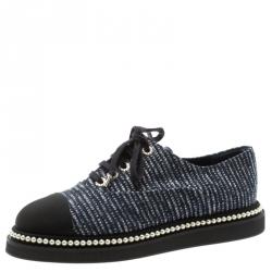 dd8f206f3f4 Chanel Tricolor Fabric And Canvas Cap Toe Faux Pearl Trim Oxfords Size 41