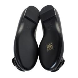 Chanel Black Leather Camellia Ballet Flats Size 38