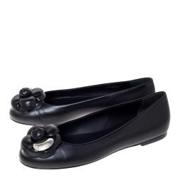 Chanel Black Leather Camellia Embellished Ballet Flats Size 37.5