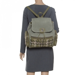 10703c587572 Chanel Khaki Women Canvas and Leather Cuba Pocket Backpack