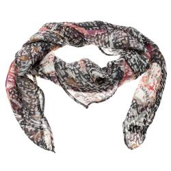 Chanel Multicolor Chain and Camellia Print Silk Square Scarf