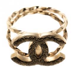 Chanel CC Enamel Gold Tone Ring Size 54