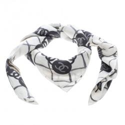 Chanel Off White Camellia and CC Logo Print Silk Square Scarf 9feea092e