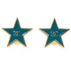 Chanel Star Blue Gold Tone Metal Earrings