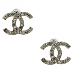 Chanel CC Crystal Silver Tone Stud Earrings