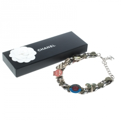 Chanel Multicolor Embellished Charm Fabric Woven Silver Tone Chain Link Choker Necklace