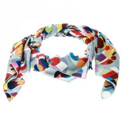 Chanel Multicolor Geometric and CC Print Silk Square Scarf c7137c182