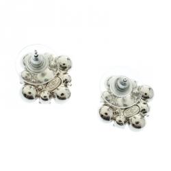Chanel CC Crystal Silver Tone Stud Earrings