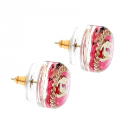 Chanel Pink Chain Embellished Resin Gold Tone Stud Earrings