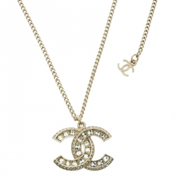 Chanel CC Crystal Gold Tone Pendant Necklace