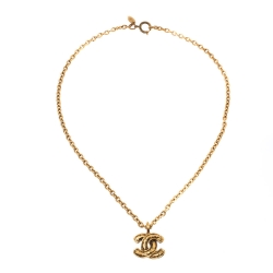 Chanel Vintage CC Gold Tone Chain Link Pendant Necklace