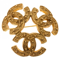 Chanel CC Textured Gold Tone Pin Brooch