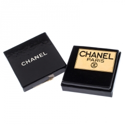 Chanel Gold Tone Enamel Employee Tag Pin Brooch
