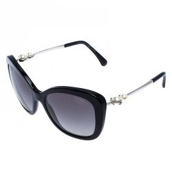 Chanel Black 5339-H Pearl Oversize Sunglasses