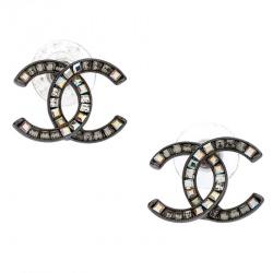 Chanel Silver Tone Baguette Crystal Embellished CC Stud Earrings