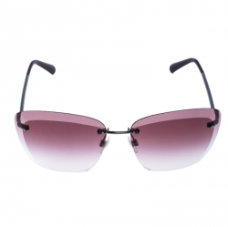 Chanel Silver Tone/ Pink Gradient 4221 Rimless Butterfly Sunglasses