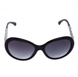 Chanel Maroon Crystal Embellished Polarized 5290-B Oval Sunglasses
