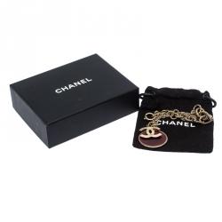 Chanel CC 5 Charm Red Enamel Chain Link Gold Tone Bracelet