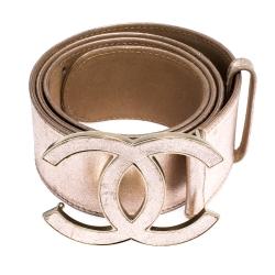 Chanel Metallic Pink Leather CC Buckle Belt 90CM