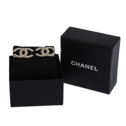 Chanel CC Faux Pearl Silver Tone Stud Earrings