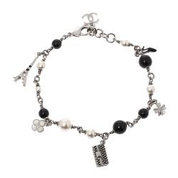 Chanel Faux Pearl Black Bead Multi Charm Silver Tone Bracelet