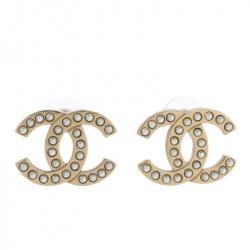 Chanel CC Faux Pearl Gold Tone Stud Earrings
