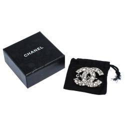Chanel CC Crystal Embellishment Silver Tone Brooch