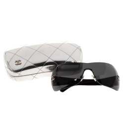 Chanel Black Quilted Leather Temple 4157-Q Shield Sunglasses