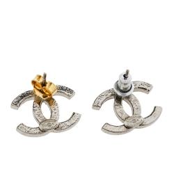 Chanel CC Silver Tone Crystal Stud Earrings