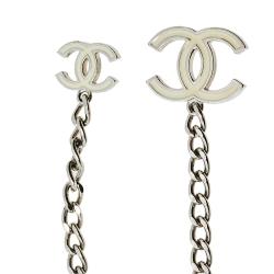 Chanel Silver Tone Enamel CC Charm Chain Belt