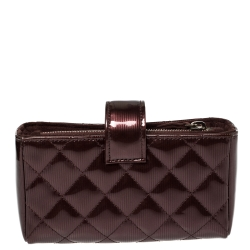 Chanel Burgundy Quilted Patent Leather CC Phone Holder