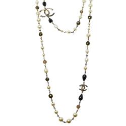 Chanel Gold Tone Black Enamel Crystal CC Charm Necklace
