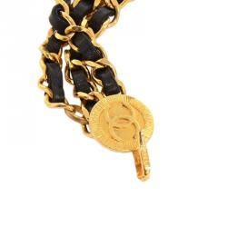 Chanel Black Leather Chain CC Medallion Belt