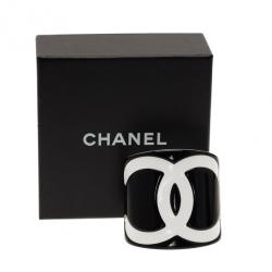 Chanel CC Black Wide Cuff Bracelet