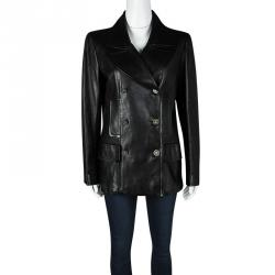 Chanel Black Lambskin Leather Double Breasted Coat M