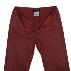 Chanel Red Denim Jeans S