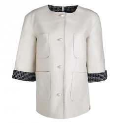 a9668ca24c39 Chanel Off White Lambskin Leather Contrast Lined Pearl Buttoned Jacket M