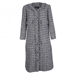 Chanel Grey Checkered Tweed Chain Embellished Buttoned Dress Coat XL