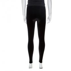 Chanel Black Elasticized Waist Logo Embellished Velvet Pants S