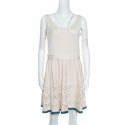 Chanel Cream Crochet Knit Sleeveless Fit and Flare Dress L