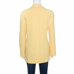 Chanel Yellow Textured Wool Jacket M