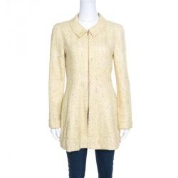Chanel Vintage Yellow Textured Zip Front Coat S