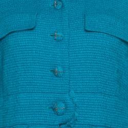 Chanel Blue Textured Slit Detail Short Sleeve Dress Coat M