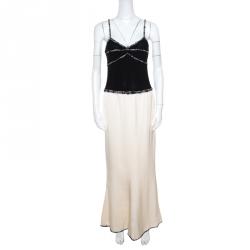 79fdb5a22455 Chanel Monochrome Colorblock Tweed Trim Sleeveless Maxi Dress M