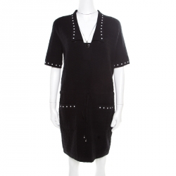 06c503a1e38b Chanel Black Textured Knit Faux Pearl Studded Short Sleeve Dress M