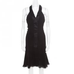 6cbb797ad0e9 Chanel Vintage Black Textured Silk Crepe Ruched Halter Dress M